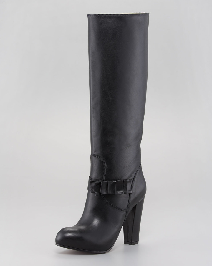 RED Valentino Leather Bow Knee Boot