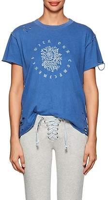 NSF Women's Moore Rose-Print Distressed Cotton T-Shirt