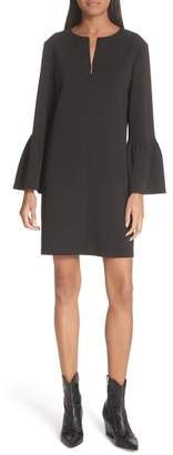 Tibi Ruffle Sleeve Crepe Shift Dress