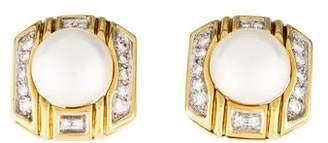 18K Mabe Pearl & Diamond Clip Earrings