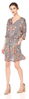 Daisy Drive Women's V Neck Stripe and Butterfly Floral Printed Dress