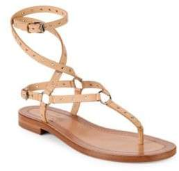 Valentino Grommet Leather Ankle Strap Sandals