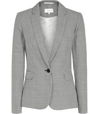 Reiss Maxine Jacket - Patterned Single-breasted Blazer in Black/White