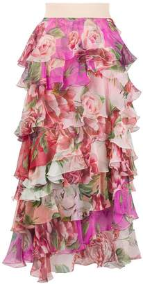 Dolce & Gabbana floral-print ruffled skirt