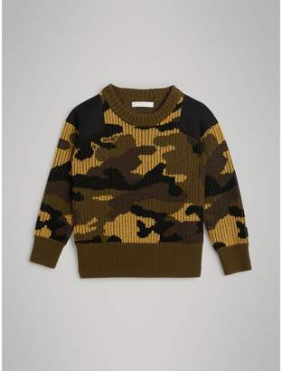 Burberry Childrens Camouflage Merino Wool Jacquard Sweater