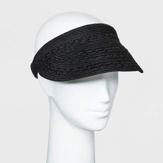 A New Day Women's Black Scallop Inset Clip On Visor Hat Black