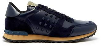 Valentino Rockrunner Suede And Leather Trainers - Mens - Navy