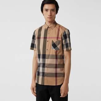 Burberry Short-sleeve Check Stretch Cotton Blend Shirt, Brown