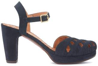 Chie Mihara Gaime Dark Blue Suede Heeled Sandal