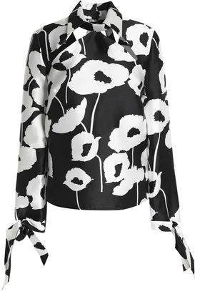 Milly Aria Cutout Floral-print Faille Blouse
