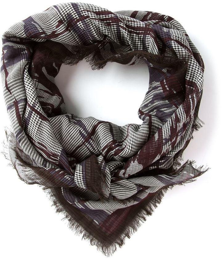 Bottega Veneta abstract check print scarf