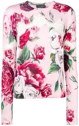 Dolce & Gabbana lace-trim floral-print sweater