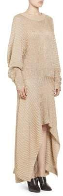 Chloé Lurex Rib Knit Long Sleeve Dress