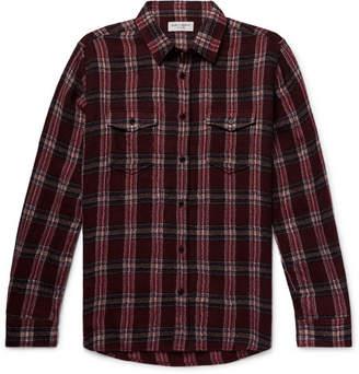 Saint Laurent Checked Textured Wool-Blend Shirt