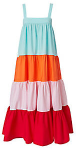 MDS Stripes Colorblocked Tiered Dress $625 thestylecure.com