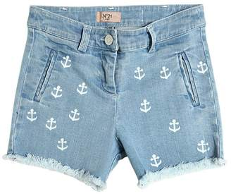 N°21 Anchor Embroidered Stretch Denim Shorts