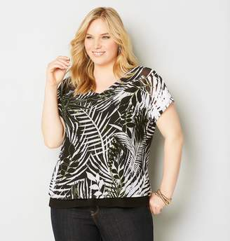 Avenue Plus Size Abstract Leaf Mesh Top