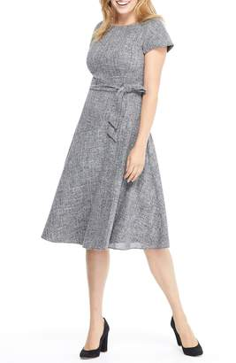 Gal Meets Glam Barbara Yarn Dyed Boat Neck Dress