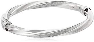 14k Gold Italian Twisted 6 mm Tube Hinged with Pave Style Glitter Bangle Bracelet
