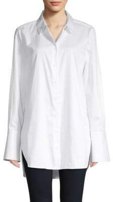 Equipment Arlette High-Low Cotton Button-Down Shirt