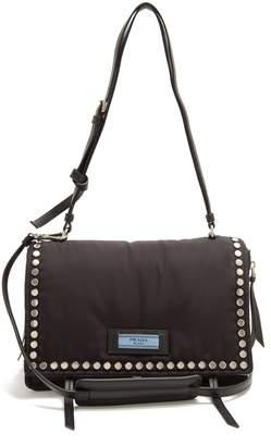 Prada Stud-embellished nylon cross-body bag