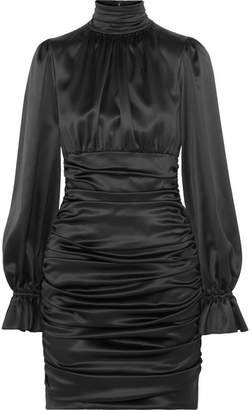 Dolce & Gabbana Ruched Silk-satin Mini Dress - Black