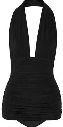 Bill Ruched Halterneck Swimsuit - Black