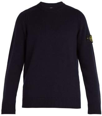 Stone Island Crew Neck Wool Blend Sweater - Mens - Navy