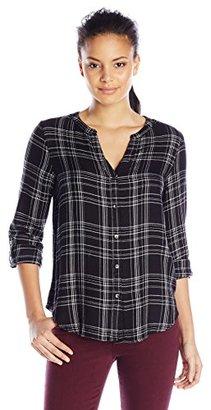 Calvin Klein Jeans Women's Long Sleeve V Neck Plaid Woven $69.50 thestylecure.com