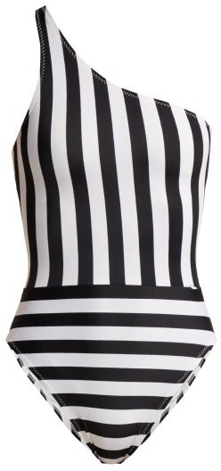 Mio One Shoulder Striped Swimsuit - Womens - Black White