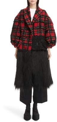 Simone Rocha Mixed Media Tartan & Faux Fur Coat