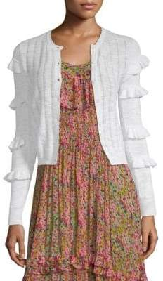 Rebecca Taylor Skinny Rib-Knit Cardigan