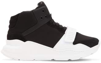 Burberry 40mm High Top Neoprene & Suede Sneakers