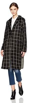 Michael Stars Women's Plaid Long Sleeve High Slit Coat