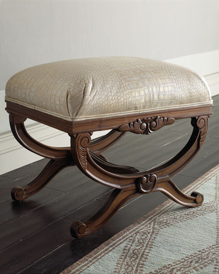 Crocodile-Embossed Bench