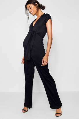 Next Womens Boohoo Maternity Tie Front Jumpsuit