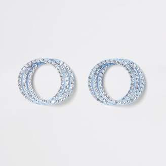 River Island Womens Blue rhinestone triple ring stud earrings