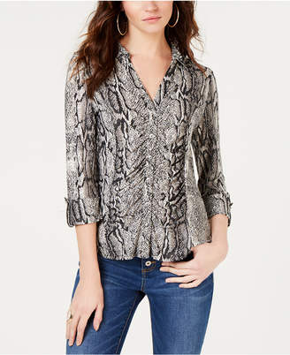 INC International Concepts I.n.c. Printed Ruched Blouse