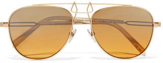Calvin Klein Aviator-style Gold-tone And Acetate Mirrored Sunglasses