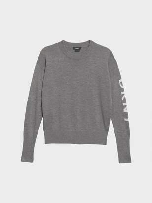 DKNY Logo Sleeve Crew Neck Sweater