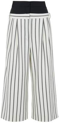 Tibi Lucci Stripe Double Waist Cropped Pants