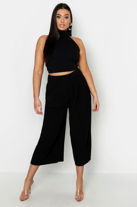 boohoo Plus High Neck Crop & Long Culotte Co-Ord Set