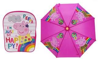 Peppa Pig Happy Backpack & Umbrellaa Set