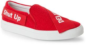 Joshua Sanders Red Snatch Velcro Slip On Sneakers