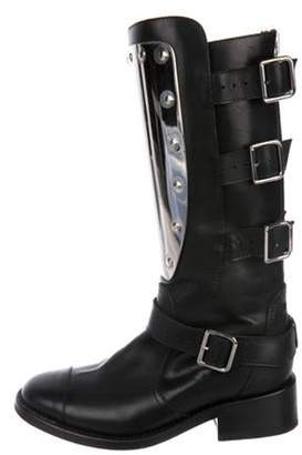 Chanel Leather Mid-Calf Plate Boots Black Leather Mid-Calf Plate Boots