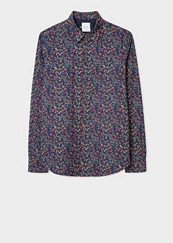 00ddb178 at Paul Smith · Men's Slim-Fit Navy 'Explorer Floral' Print Shirt With  'People' Cuff