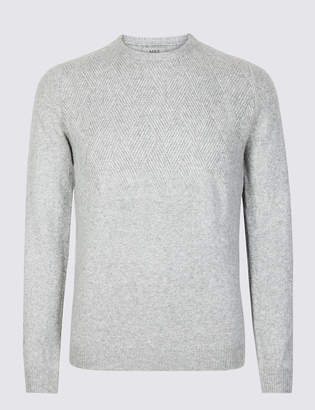 M&S Collection Supersoft Textured Crew Neck Yoke Jumper