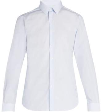 Burberry Logo Embroidered Pinstriped Cotton Shirt - Mens - Blue