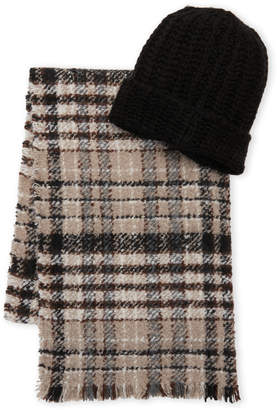 Steve Madden Two-Piece Blanket Wrap & Beanie Set