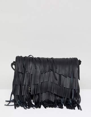 Urban Code Urbancode leather cross body bag with detachable fringing
